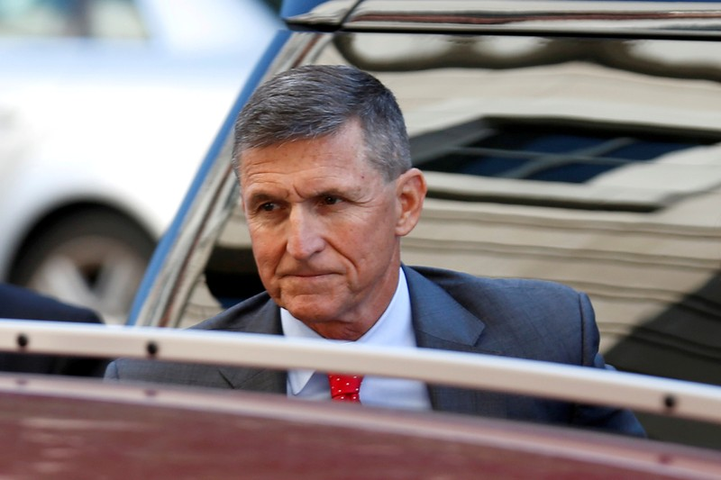 FILE PHOTO: Former National Security Adviser Flynn arrives for status hearing at U.S. District Court in Washington