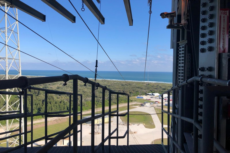 A long zip line provides a fast escape route for astronauts and crew in case of an emergency at Launch Complex 41 in Cape Canaveral