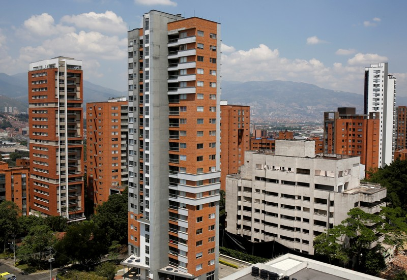 The Monaco building and former home of the late drug lord Pablo Escobar is seen before being demolished, in Medellin