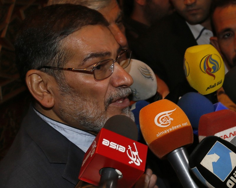 FILE PHOTO - Admiral Ali Shamkhani, Iran?s Supreme National Security Council Director, speaks to the media after his arrival at Damascus airport