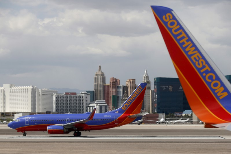 FILE PHOTO: Southwest Airlines planes are seen in front of the Las Vegas strip
