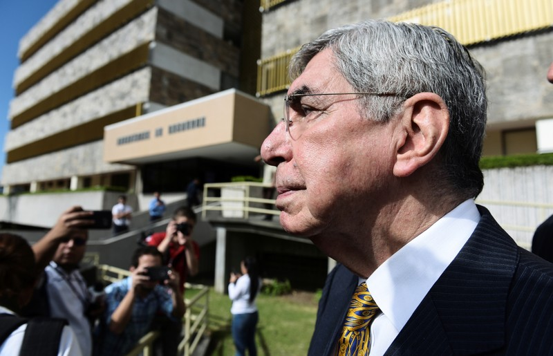 Costa Rica's former president and 1987 Nobel Peace Laureate Oscar Arias, speaks to the media after presenting his statement regarding complaints against him over sexual assault at the Attorney's Office, in San Jose