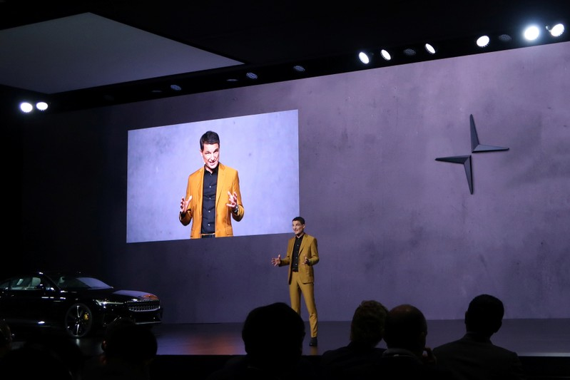 Thomas Ingenlath, Chief Executive Officer of Polestar speaks during a launch event in Shanghai