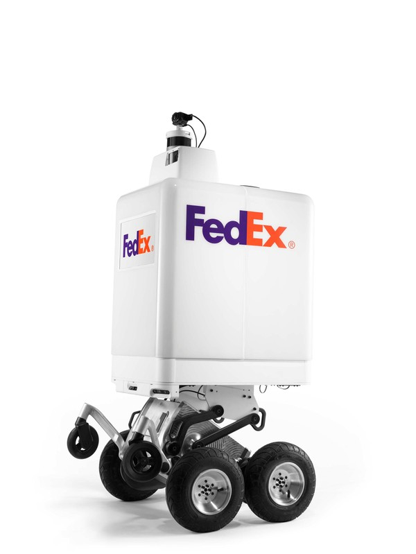 A handout photo of a FedEx SameDay bot, an autonomous same-day delivery robot which will be tested this summer in Memphis and other cities