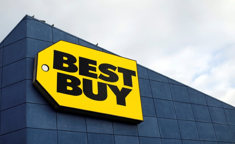The sign of a Best Buy store in Pasadena