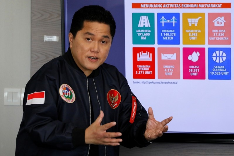 Election campaign chief Thohir, talks during a media briefing in Jakarta