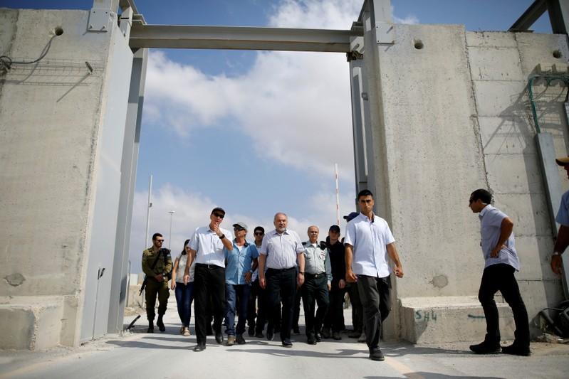 FILE PHOTO: Israeli Defence Minister Avigdor Lieberman visits Gaza's Kerem Shalom crossing, the strip's main commercial border terminal
