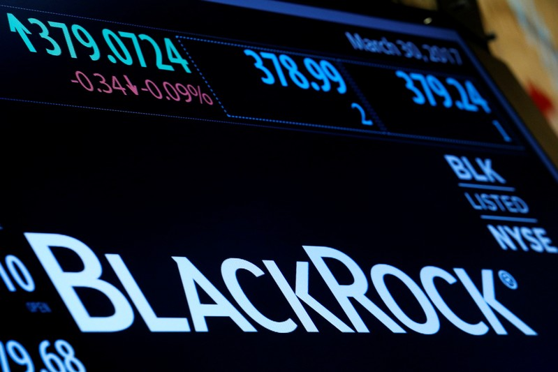 FILE PHOTO:  The company logo and trading information for BlackRock is displayed on a screen on the floor of the NYSE