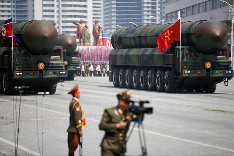 FILE PHOTO: North Korean ICBMs on parade