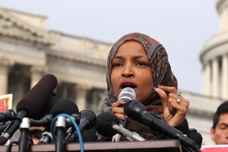 U.S. Representative Ilhan Omar participates in a news conference to call on Congress to cut funding for ICE (Immigration and Customs Enforcement), at the U.S. Capitol in Washington