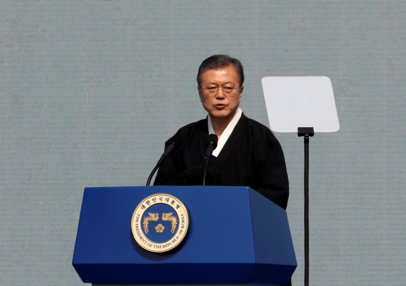 South Korean President Moon Jae-in delivers a speech during a ceremony celebrating the 100th anniversary of the March First Independence Movement against Japanese colonial rule, in central Seoul