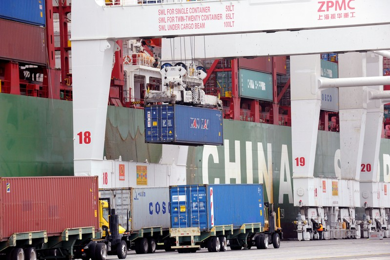 FILE PHOTO: Shipping containers sit at the Port of Long Beach in Long Beach, California