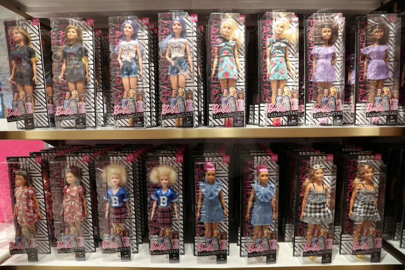 Barbie dolls are seen inside the new flagship FAO Schwarz store in Rockefeller Plaza in New York