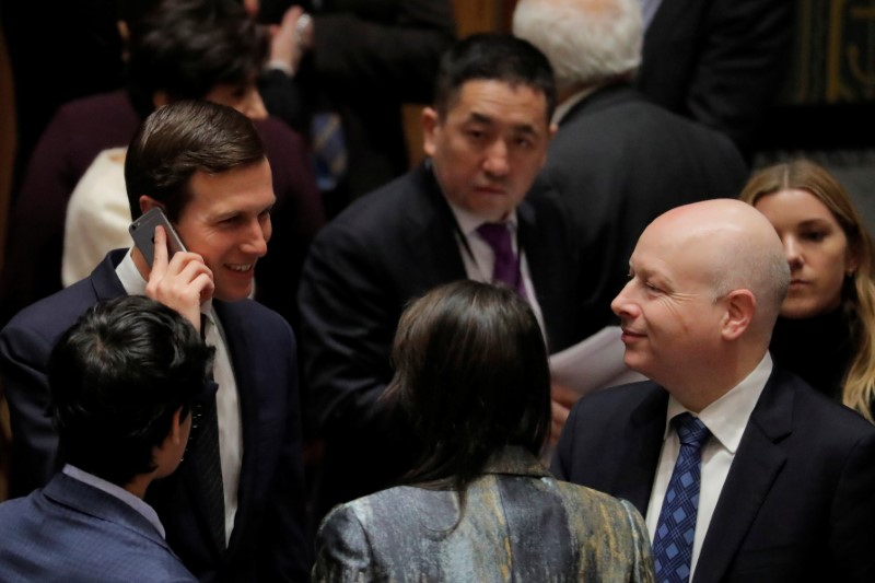 FILE PHOTO: White House senior adviser Kushner speaks with US Ambassador to UN Greenblatt before meeting of UN Security Council in New York