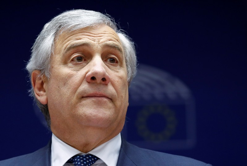 European Parliament President Antonio Tajani is seen at the beginning of a plenary session of the EU Parliament in Brussels