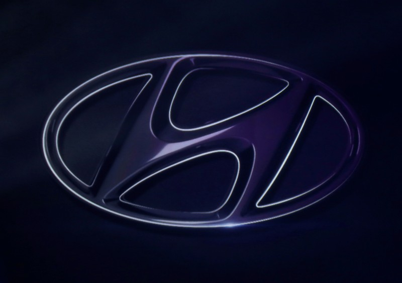 FILE PHOTO: The logo of Hyundai Motor is seen on wall at a event of Hyundai Motor Co's new Accent in Mexico City