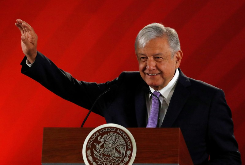 Mexico's President Andres Manuel Lopez Obrador gestures during his daily news conference at National Palace in Mexico City