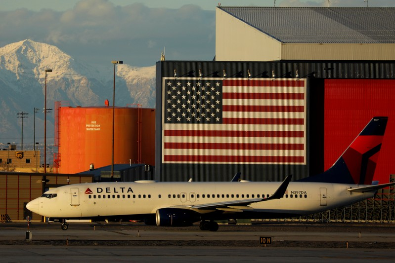 A Delta Air Lines Boeing 737 plane arrives in Salt Lake City