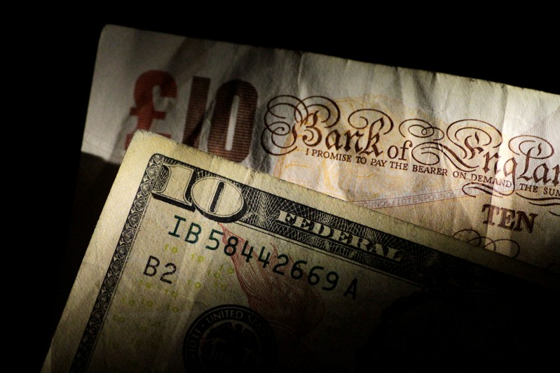 Illustration photo of British Pound Sterling and U.S. Dollar notes