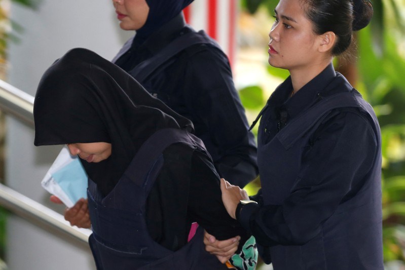 Indonesian Siti Aisyah arrives at the Shah Alam High Court on the outskirts of Kuala Lumpur