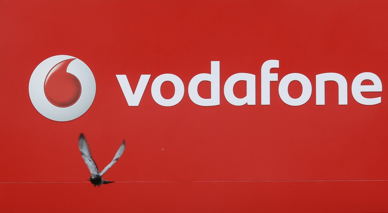 Pigeon flies past the logo of Vodafone in Kiev