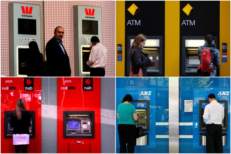 FILE PHOTO - A combination of photographs shows people using automated teller machines (ATMs) at Australia's