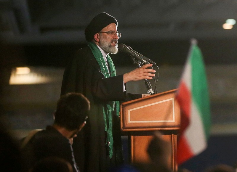 FILE PHOTO: Iranian Presidential candidate Ebrahim Raisi speaks during a campaign meeting at the Mosalla mosque in Tehran