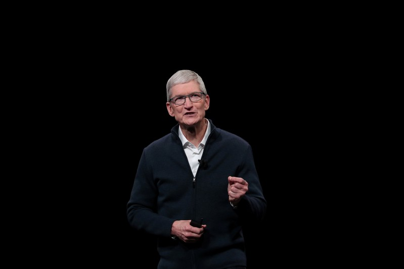 FILE PHOTO: Apple CEO Tim Cook speaks during an Apple launch event in the Brooklyn borough of New York