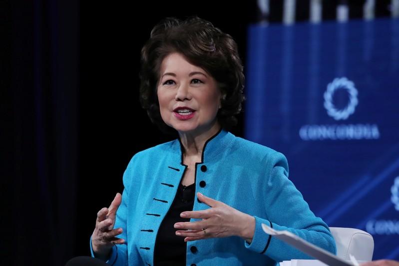 FILE PHOTO: U.S. Transportation Secretary Elaine Chao speaks at the Concordia Summit in Manhattan, New York