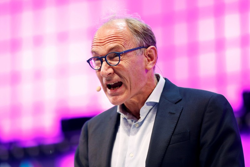 FILE PHOTO: World Wide Web Inventor Sir Tim Berners-Lee speaks during the inauguration of Web Summit, Europe's biggest tech conference, in Lisbon