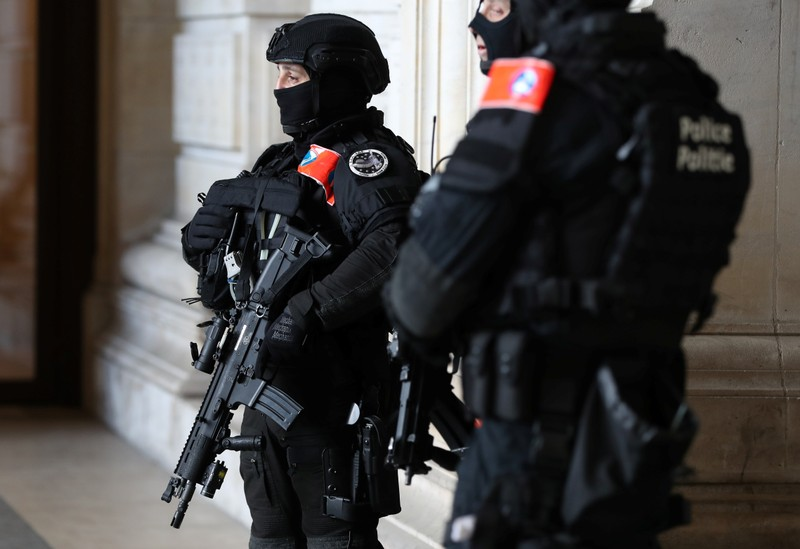 Belgian police special unit officers secure the Palace of Justice during the trial of Mehdi Nemmouche and Nacer Bendrer in Brussels