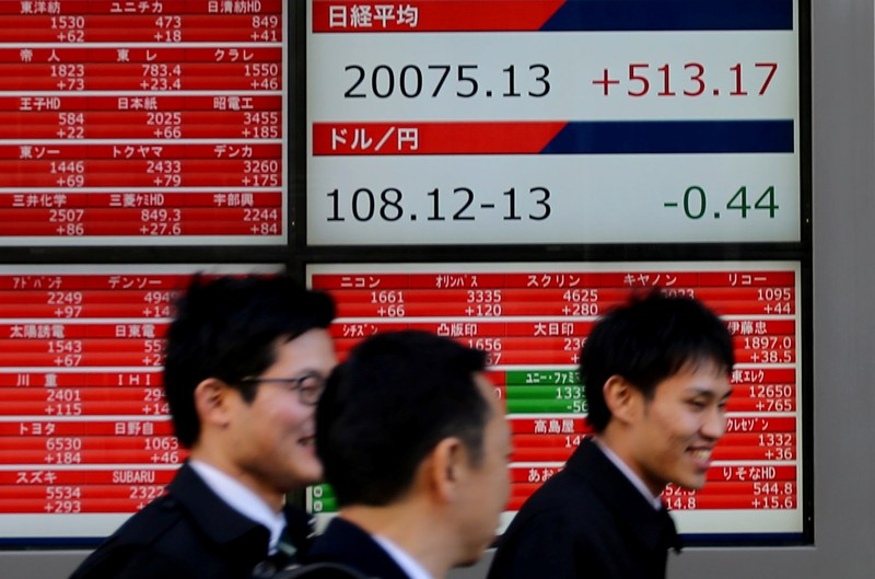 FILE PHOTO: Pedestrians walk past electronic board showing the Nikkei stock index outside a brokerage in Tokyo
