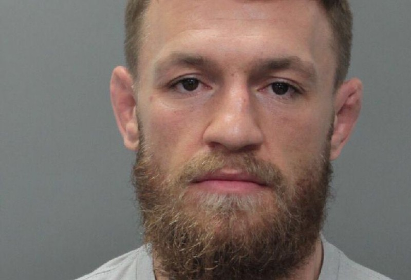 UFC fighter Conor McGregor appears in a police booking photo at Miami-Dade County Jail in Miami
