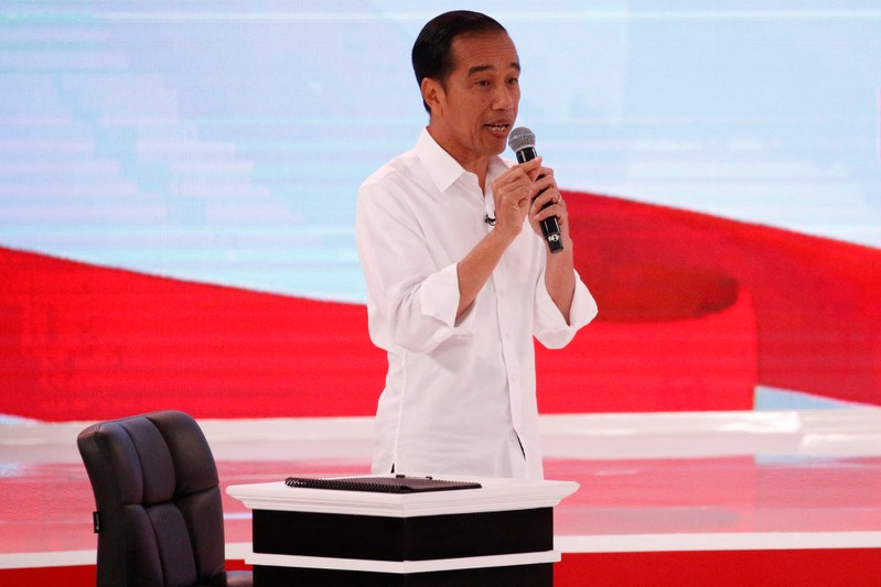 Indonesia's presidential candidate Joko Widodo speaks during a debate with his opponent Prabowo Subianto in Jakarta
