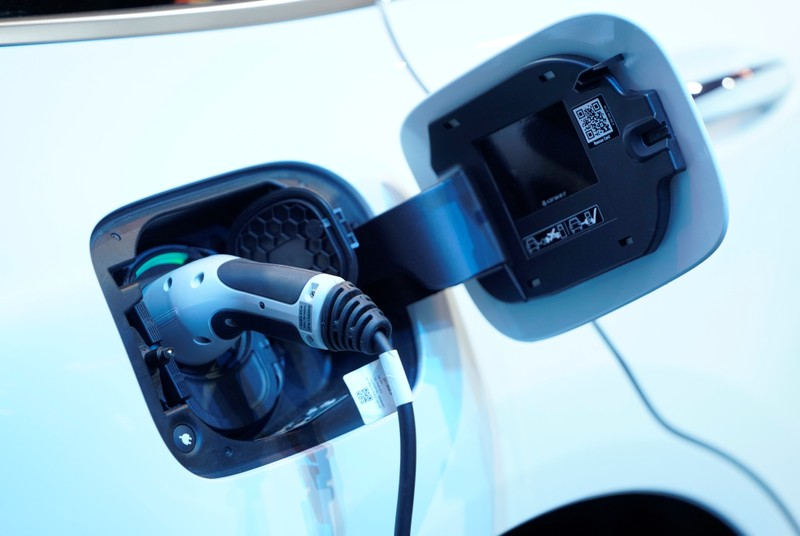 FILE PHOTO: A charging port is seen on a Mercedes Benz EQC 400 4Matic electric vehicle at the Canadian International AutoShow in Toronto