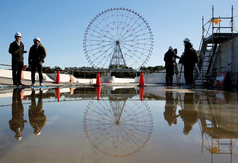 A general view of the construction site of the Kasai Canoe Slalom Centre for Tokyo 2020 Olympic games in Tokyo