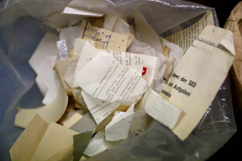 Shredded documents of the former East German Ministry for State Security (MfS), known as the Stasi, are pictured at the central archives office in Berlin