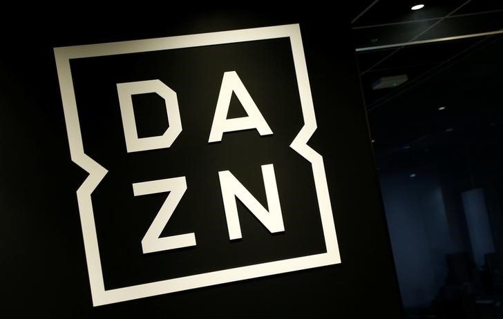 Internet streaming service DAZN's logo is pictured in its office in Tokyo