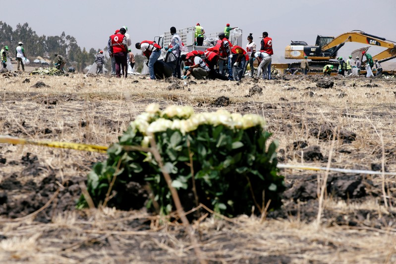 Members of the Ethiopian red cross search for remains at the Ethiopian Airlines Flight ET 302 plane crash before a commemoration ceremony at the scene of the crash, near the town of Bishoftu, southeast of Addis Ababa