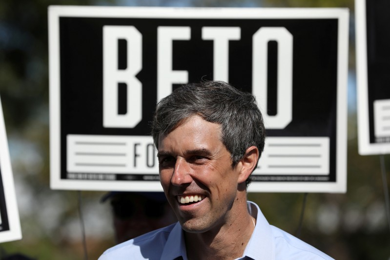 FILE PHOTO: U.S. Rep. Beto O'Rourke (D-TX), candidate for U.S. Senate greets supporters at a campaign rally in Plano