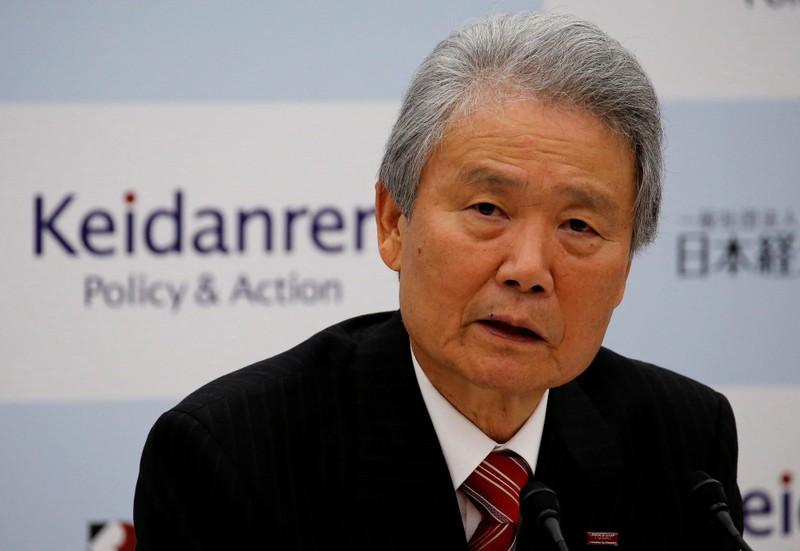 FILE PHOTO: Chairman of Japan Business Federation Sadayuki Sakakibara attends a news conference in Tokyo