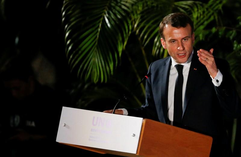 French President Emmanuel Macron addresses the United Nations Environmental Assembly in Gigiri, Nairobi