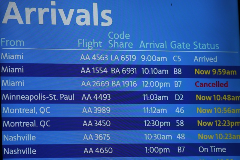 An American Airlines arrivals board displaying American Airlines flight 2669, which was scheduled to be flown by a Boeing 737 Max 8, arriving from Miami to New York City at LaGuardia Airport, is seen as cancelled, in New York