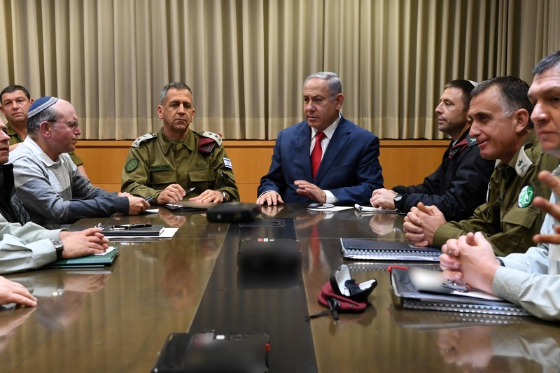 Israeli Prime minister Benjamin Netanyahu and Chief of staff Aviv Kohavi hold a security consulations at the Kirya Defense Ministry compound in Tel Aviv