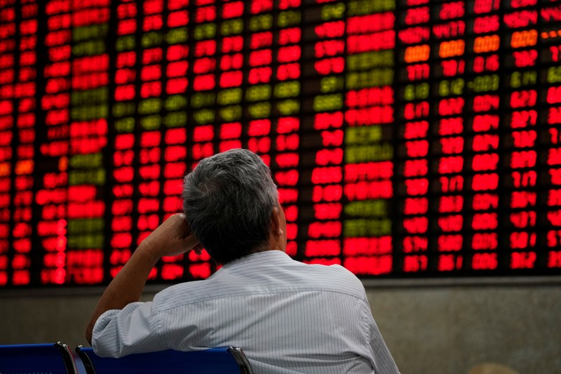 FILE PHOTO: An investor looks at an electronic board showing stock information at a brokerage house in Shanghai