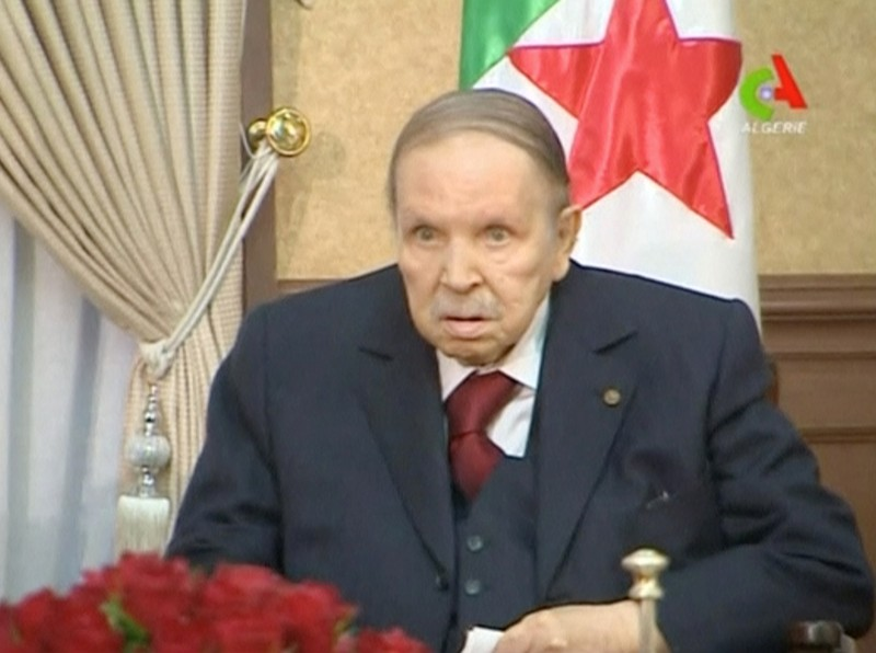 Algeria's President Abdelaziz Bouteflika looks on during a meeting with army Chief of Staff Lieutenant General Gaid Salah in Algiers