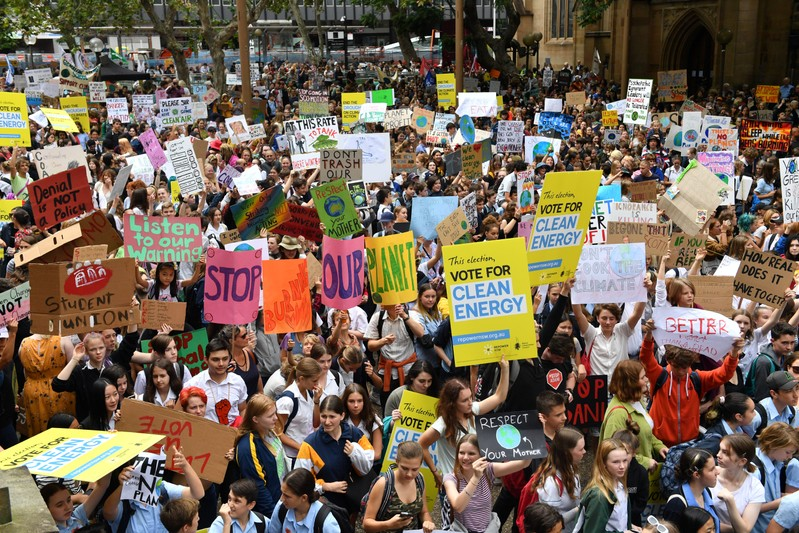 Thousands of school students from across Sydney attend the global #ClimateStrike rally at Town Hall in Sydney