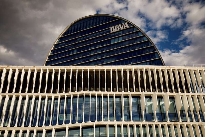 FILE PHOTO: The headquarters of the Spanish bank BBVA in Madrid