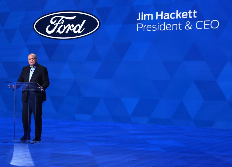 Ford's Hackett speaks at the North American International Auto Show in Detroit, Michigan