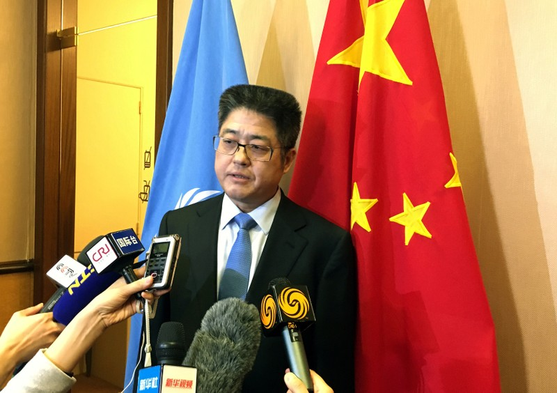 China Vice Minister of Foreign Affairs Le talks to the media after the Universal Periodic Review of China in Geneva